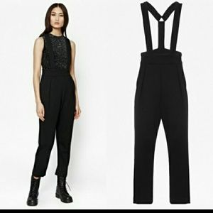 French Connection Black Overalls